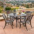Covington Antique Bronze Outdoor Patio Furniture 5pcs Cast Aluminum Dining Set
