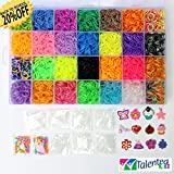 TIE DYE, METALLIC, JELLY MEGA COMBO! 7000 RUBBER BANDS REFILL & STORAGE ORGANIZER: Comes with 7000 Rainbow Colored Rubber Bands in 28 Specialty Colors: GOLD, SILVER, METALLIC, TIE-DYES, GLITTERS, GLOW IN THE DARK, JELLY, NEON and more! 350 S CLIPS, 12 CHARMS & BEADS are also included. This is a refill kit, loom or looms of any type are not included. Fits the rainbow loom when some compartments are removed. MONEY BACK GUARANTEED, NO QUESTION ASKED. TALENTED KIDZ EXCLUSIVE.
