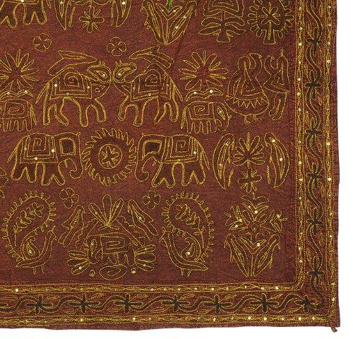 Imagen 3 de Indio del bordado tradicional a mano Zari lentejuelas y Wall Hanging Trabajo Algodón Tamaño 54 x 33 pulgadas