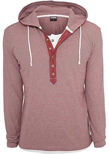 Urban Classics Fine Stripe Button Jersey Hoody Maglia manica lunga con cappuccio rosso/bianco S