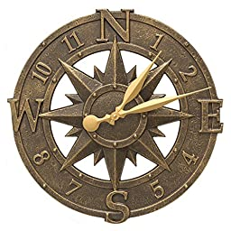 Whitehall Products Compass Rose Clock, French Bronze