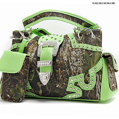 Green Western Belt Buckle Concealed Carry Gun Weapon Handbag Purse Camo Camouflage Cell Phone Cover