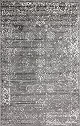 Traditional 5 feet by 8 feet (5\' x 8\') Sofia Dark Gray Area Rug