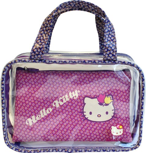 Hello Kitty Vintage Floral Two-Piece Travel Cosmetic Bag Set