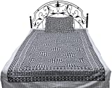 Exotic India Frost-Gray and Black Single-Bed Bedspread from Pilkhuwa with Printed Checks - Pure Cott