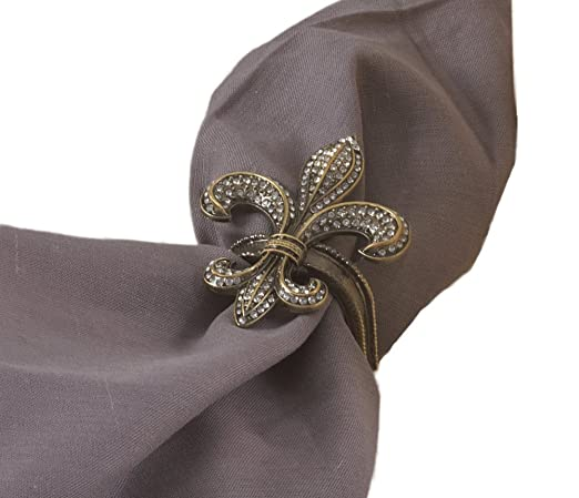 Jeweled Gold Fleur-De-Lis 4-piece Napkin Ring Set by Fennco