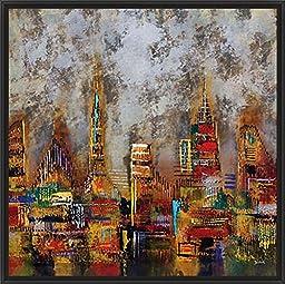 28in x 28in City Lights II by Dominick - Black Floater Framed Canvas w/ BRUSHSTROKES