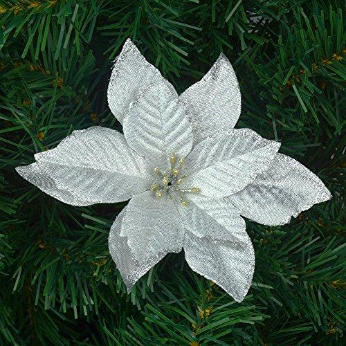 6Pcs 5 Inch Glitter Artificial Wedding Christmas Flowers XMAS Tree Wreaths Decor Ornament Silver