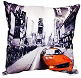 RETRO Vintage Cushion Cover - Printed New York & London Cushion Case Taxi - Yellow ( grey white black orange ) 1 x Cushion Cover 18x18 inches