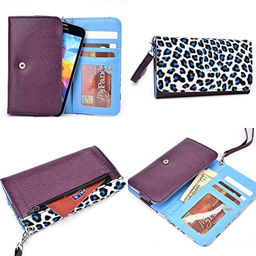 Blu Dash 4.5 Smartphone Wristlet - Deep Plum And Light Leopard Print - Electric Blue Interior - & Nextdia Cable Strap