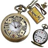 [リトルマジック] アリス 懐中時計 高品質日本メーカー製クオーツ使用! 【革ひも・うさぎチャーム・保証書・初心者にも安心説明書付き・こだわりの裏面】表面のうさぎが可愛い 懐中時計 アンティーク