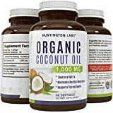 Pure Natural Coconut Oil - Food-Grade Capsules - Organic & Extra Virgin - Helps Prevent Hair Loss and Promotes Hair Growth - Provides a Healthy Energy Boost - Effective for Weight Loss - USA Made by Huntington Labs