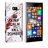Nokia Lumia 930 Case - White / Red Hard Plastic (PC) Cover with Funny Keep Calm and Kill Zombies Design