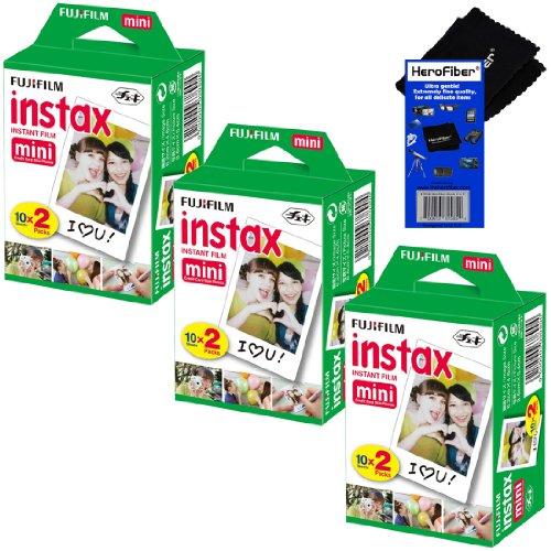 Fujifilm Instax Mini Twin Pack Instant Film - 3 pack (60 sheets) for Fujifilm Instax Mini 7s, Mini 8, Mini 25, Mini 50S, Mini 90 & SP-1 Smartphone Printer + HeroFiber® Ultra Gentle Cleaning Cloth (Fujifilm Instax Mini 7s Camera compare prices)
