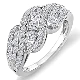 Image of 1.00 Carat (ctw) 14K White Gold Round Diamond Ladies Cocktail Right Hand Ring 1 CT (Size 5)