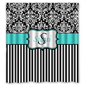 Black and white european pattern damask with for Teal and black bathroom decor