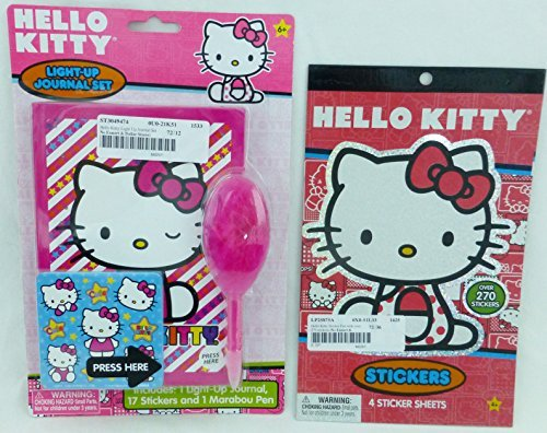 Sanrio Hello Kitty Gift Set - Light Up Journal Pen Stickers - 1