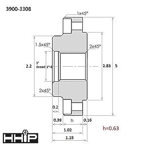 HHIP 3900-3308 Backplate/Adapter for 5 Lathe Chucks, 1-8 Threaded (Tamaño: 5 Size, 1-8 Thread)