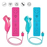 Lactivx Nunchuck and Wii Remote Controller Compatible with Nintendo Wii Wii U Console - with Silicone Case and Strap (Pink and Blue) (Color: Pink and Blue)
