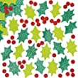 Holly & Berry Glitter Foam Stickers for Children to Decorate Christmas Cards and Collage - Pack of 200