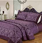 Lila Damask Patchwork Tagesdecke �ber...