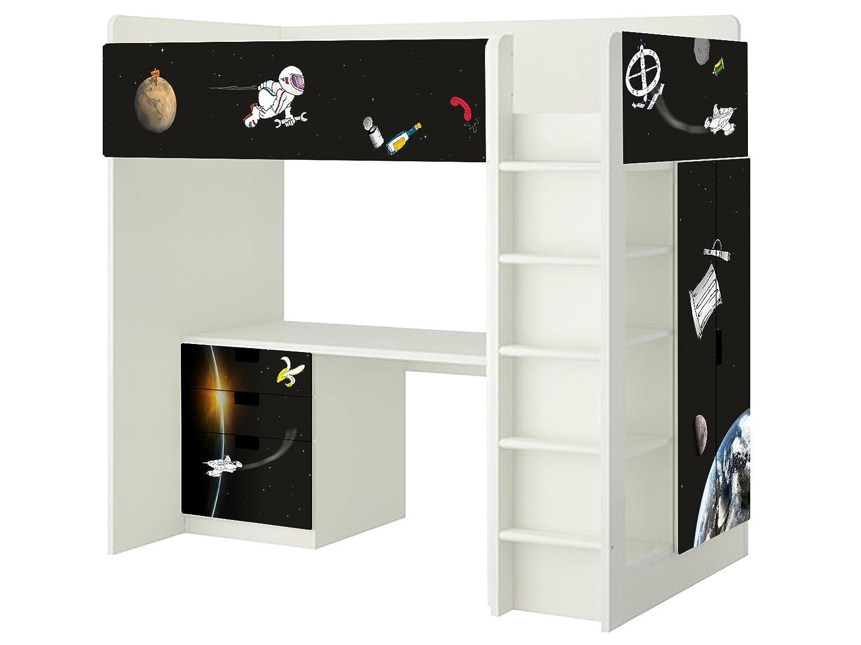 Weltall Aufkleber – SH12 – passend für die Kinderzimmer Hochbett-Kombination STUVA von IKEA – Bestehend aus Hochbett, Kommode (3 Fächer), Kleiderschrank und Schreibtisch jetzt kaufen