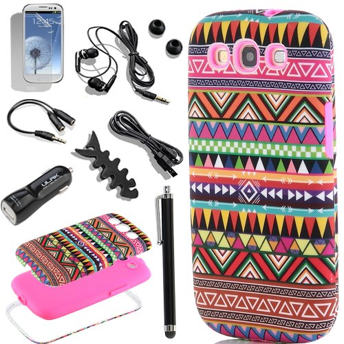 Pandamimi Ulak 3In1 Hybrid High Impact Pink Hard Aztec Tribal Pattern + Pink Silicone Case Cover For Samsung Galaxy S3 Siii I9300 +Screen Protector/Stylus/Car Charger/Usb Cable/Earphone Splitter Cable (1 In 2 Out), Fishbone Shape Earphone Cord Winder (At&