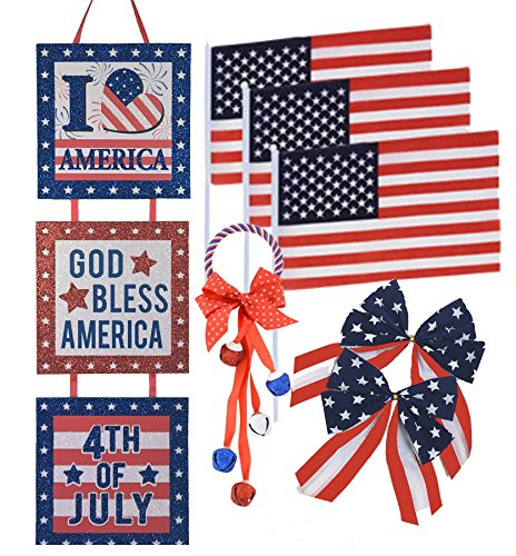 Patriotic 4th of July Independence Day Decorations Bundle Pack- 7 pcs. Stars and Stripes Usa Flag Quality Decorations
