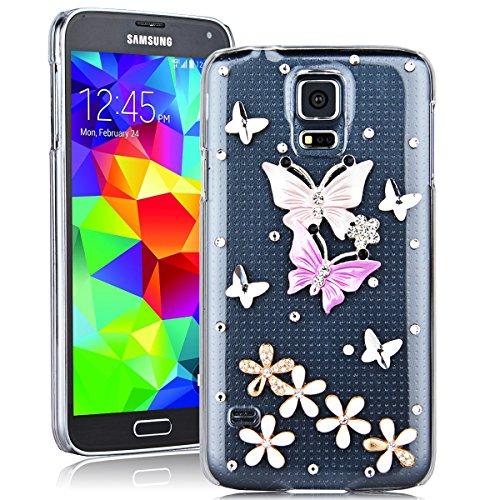 SMARTLEGEND Rigida Custodia per Samsung Galaxy S5, Bling Glitter Diamante PC Hard Case Cover Bumper, Ultra Sottile Trasparente Duro Durevole Protettiva Caso con Disegno Elegante - Farfalla Colorata e Fiore Bianco