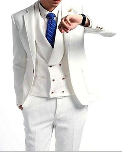 Lilisメンズファッションホワイト3点メンズスーツフォーマルスーツ男性用ノッチラペルブレザー