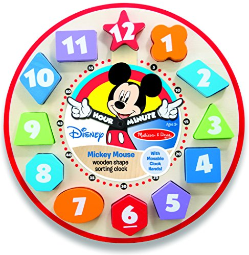 Melissa & Doug Disney Mickey Mouse Wooden Shape Sorting Clock (Disney World Pillow compare prices)