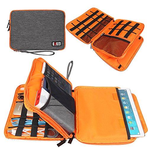 BUMB 収納ポーチ 小物 スマホやiPad miniも入れ収納ポケットケーブル収納ポケット PC周辺機器整理ケース マルチ二重撥水防滴ポッチ ケーブル/ガジェット/デジモノアクセサリ固定ツール(XL グレー)