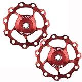 OneDream 11T 13T Aluminium Alloy Bike Rear Derailleur Jockey Wheels Rear Derailleur Pulley for Road Bike, Mountain Bike, MTB,BMX,Shimano,Sram Cycling (11T 2Pieces) (Color: Red, Tamaño: 11T 2Pieces)