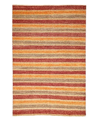 Solo Rugs Modern Hand-Knotted Rug, Canary/Red, 5' 5 x 7' 10