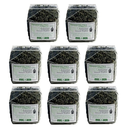 8 Pack | 100 Gm (3.5 Oz.) | Jiaogulan Herbal Organic Immortalitea | Retail Cellophane Packages For Easy Store Shelf Display | 35% Wholesale Discount | 15 Page Mini-Booket With 18 Jiaogulan Q&A'S With Each Package