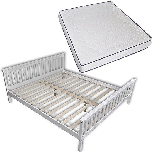 vidaXL Weißes Holz Bett 200 x 180 cm mit Memory Foam Matratze