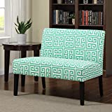 Metro Shop Portfolio Niles Soft Emerald Green Greek Key Armless Settee
