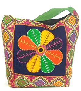 Womens Green Cross Body Bag  Beautiful Tote Beach & Shopper Bag  Canvas Travel Bag