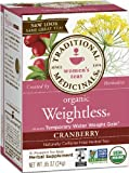 Traditional Medicinals Weightless Cranberry Herbal Tea, 16-Count Wrapped Tea Bags (Pack of 6).