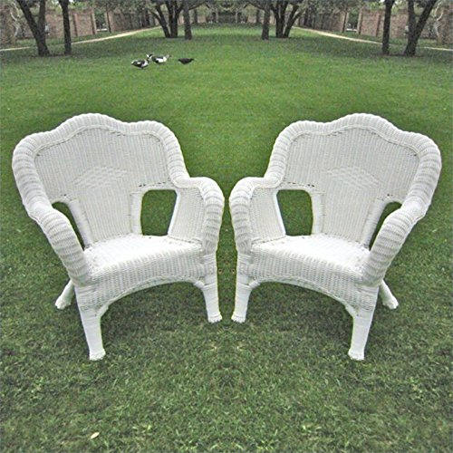 International Caravan International Caravan Monaco All-Weather Wicker Deep Seated Lounge Chair - Set of 2, White, Resin Wicker image