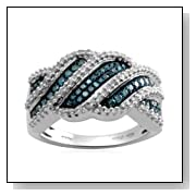 Sterling Silver Blue and White Diamond Bypass Ring (1/2 cttw, I-J Color, I3 Clarity)