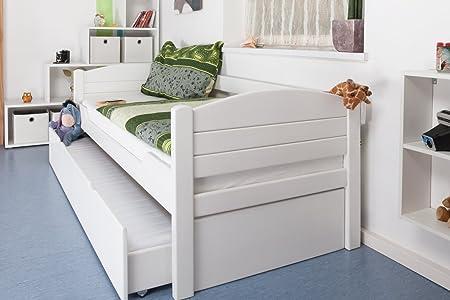 """Einzelbett / Ausziehbett """"Easy Möbel"""" K1/s Voll inkl. 2. Liegeplatz und 2 Abdeckblenden, 90 x 200 cm Buche Vollholz massiv weiß lackiert"""