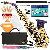 320-PR - PURPLE/GOLD Keys Curved Bb Soprano Saxophone Lazarro++11 Reeds,Music Pocketbook,Case,Care Kit - 24 COLORS - SILVER or GOLD KEYS - CHOOSE YOURS !