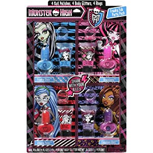 Monster High Freaky Fab Nail Polishes Body Glitters and Rings Set