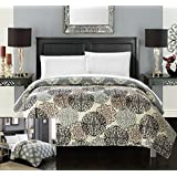 Chic Home 1 Piece Judith Boho Inspired Reversible Print Quilt Set, King, Beige