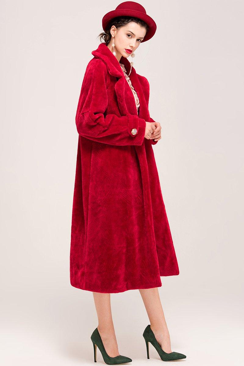 YIGELILA Women's Vintage Oversized Shearling Belted Long Fur Coat Wool Outwear 3