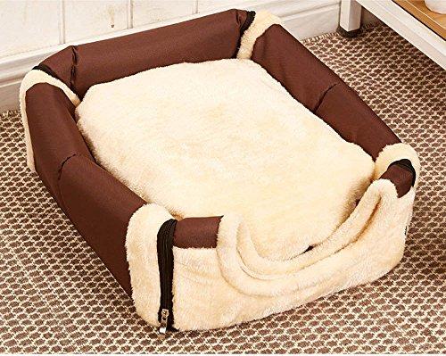 Cosy Weiche Hundebett Hundehaus Hundehöhle Haustier Bett Warm Schlafsack Korb hundehütte mit Ablösbar Kissen Matte für Hunde, Katzen (M, Reine Brown) -