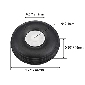 uxcell Tire and Wheel Sets for RC Airplane,PU Sponge Tire with Plastic Hub,1.75 inches 2pcs (Tamaño: 1.75 2pcs)