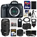 Canon EOS 7D Mark II GPS Digital SLR Camera Body with 70-300mm IS USM Lens + 64GB Card + Case + Flash + Battery + Tripod + Kit