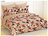 Bedspun Top Quality 120 TC 100% Cotton Flower Design Pattern Bedsheets, Double Bedsheets With 2 Pillow Cover - Brown